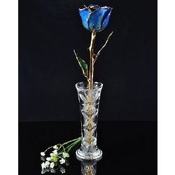24 Karat Gold Trimmed Blue Rose with Crystal Vase