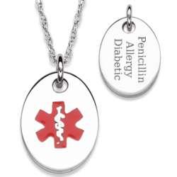 Sterling Silver Medical Alert Children's Oval Engraved Necklace