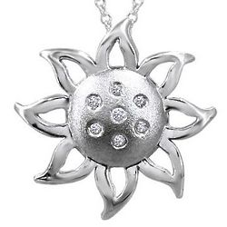 Sterling Silver Sunburst Diamond Pendant