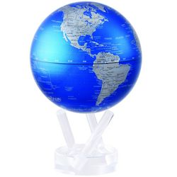 Automatic Rotating Cobalt Blue and Silver Globe