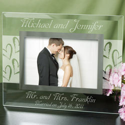 Mr. and Mrs. Wedding Glass Picture Frame