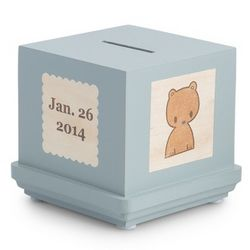 Blue Classic Wooden Baby Bank