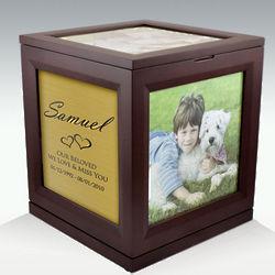 Large Photo Cube Rotating Pet Cremation Urn