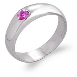 Sterling Silver Pink CZ Heart Engraved Message Ring