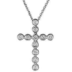 Diamond Bubble Cross Pendant in 14K Gold
