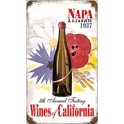 Wines of California Metal Sign