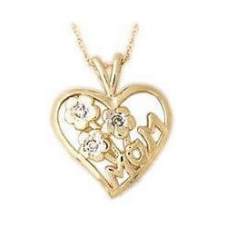 Diamond Flower Basket and Heart MOM Pendant in 14K Yellow Gold