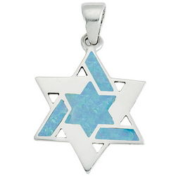 Opal Jewish Star Pendant Necklace