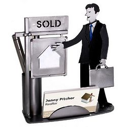 Male Real Estate Agent Business Card & Pen Holder