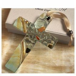 Murano Art Deco Pebble Glass Cross