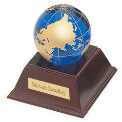Blue Crystal Globe Trophy