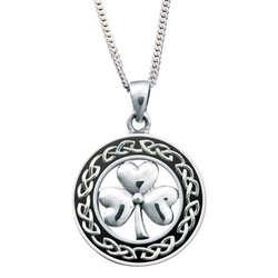 Sterling Silver Circle Shamrock Pendant