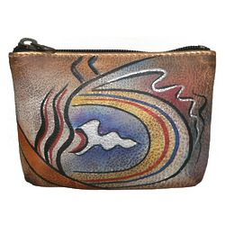 Hand Painted Leather Coin Pouch