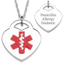 Sterling Silver Medical Alert Engraved Heart Necklace