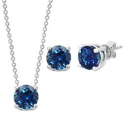 Sterling Silver London Blue Topaz Pendant and Earrings Set