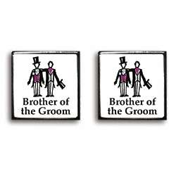 Brother of the Groom Contemporary Wedding Cufflinks