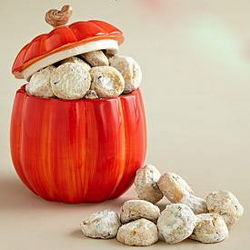 Pumpkin Cookie Jar with Pecan Meltway Cookies