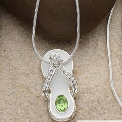 Personalized Swarovski Birthstone Flip Flop Necklace
