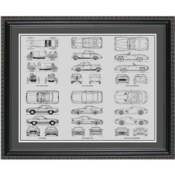 Mercedes Benz Blueprint Collection Framed Print