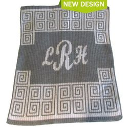 Personalized Scroll with Script Monogram Stroller Blanket