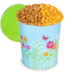3.5 Gallons of Chicago Mix Popcorn in Butterflies & Flowers Tin