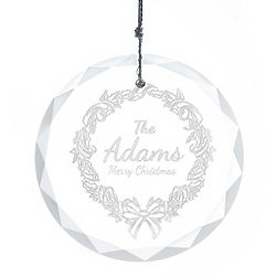 Personalized Etched Wreath Round Faceted Glass Ornament