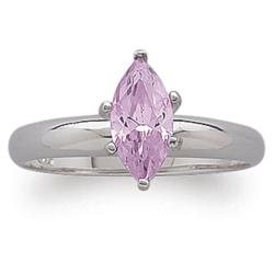 Sterling Silver Pink CZ Marquise Solitaire Ring