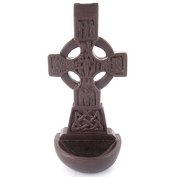 "6"" Irish Peat Celtic Cross Holy Water Font"