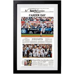 NY Times Derek Jeter 3,000 Hits Sports Cover with Authentic Dirt