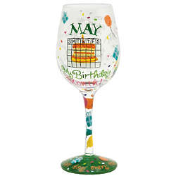 May Birthday Month Wine Glass