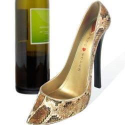 Caramel Snakeskin Shoe Wine Bottle Holder