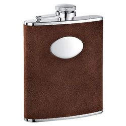 6-Ounce Reversed Leather and Stainless Steel Flask
