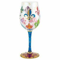 Handpainted Funky Fleur De Lis Wine Glass