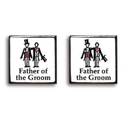 Father of the Groom Contemporary Wedding Cufflinks