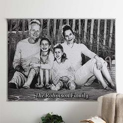 Deluxe Personalized Black and White Photo Afghan