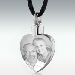 Engravable Photo Heart Stainless Steel Cremation Pendant