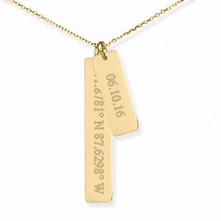 Personalized Anniversary Coordinate & Date Vertical Gold Necklace