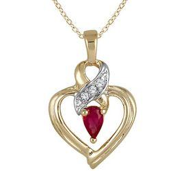 Ruby and Diamond Ribbon Heart Pendant