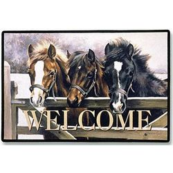 Over The Gate Horse Welcome Mat