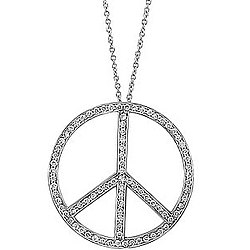 Sterling Silver CZ Large Peace Sign Necklace