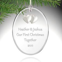 Personalized Couple's First Christmas Glass Ornament