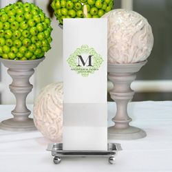 Personalized Square Fresh Floral Unity Candle with Stand