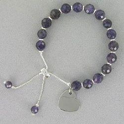 Engraved Genuine Amethyst Heart Lariet Bracelet