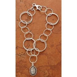 Sterling Silver Circle-Links Miraculous Medal Bracelet