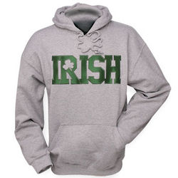 Embroidered Irish Gray Hooded Sweatshirt