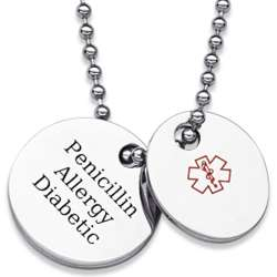 Stainless Steel Medical Alert Engraved ID 2-Piece Necklace
