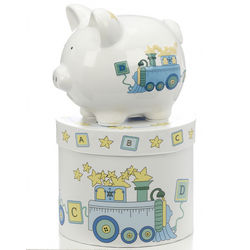 Personalized Mini Train Piggy Bank