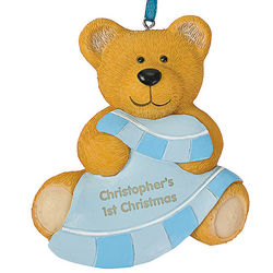 Baby Boy's First Christmas Teddy Bear Ornament