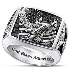 Wings of Freedom Stainless Steel Patriotic Eagle Ring
