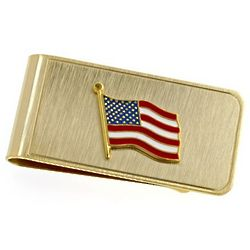 USA Flag Personalized Brass Money Clip